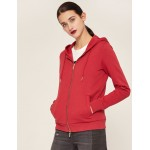 METALLIC APPLIQUE ZIP-UP HOODIE