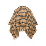 Fringe-trimmed checked cashmere and wool-blend wrap