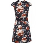 Belted floral-print satin-faille mini dress