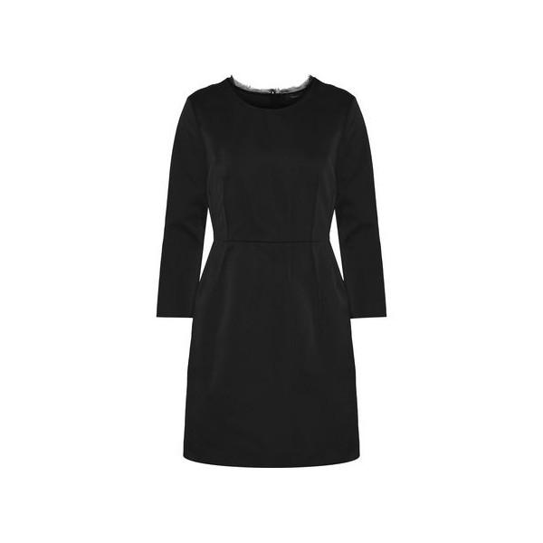 Frayed chiffon-trimmed pleated satin mini dress