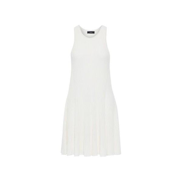 Fluted ribbed-knit mini dress