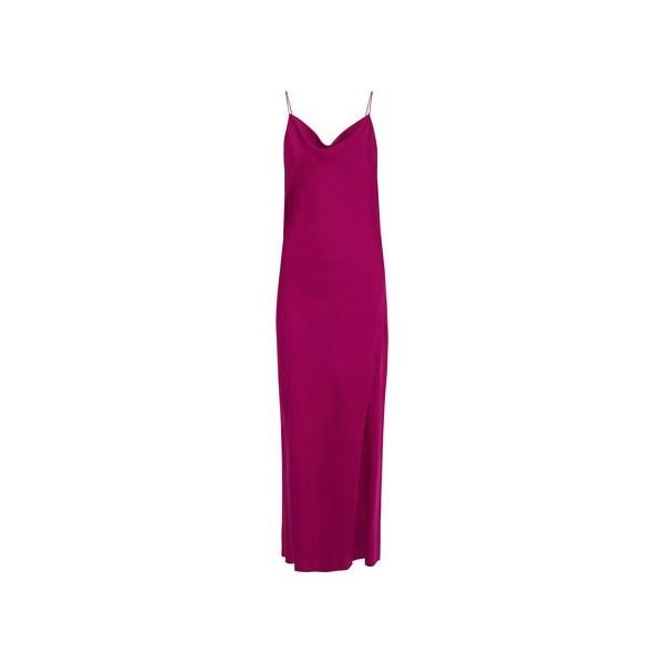 Draped silk-charmeuse maxi slip dress