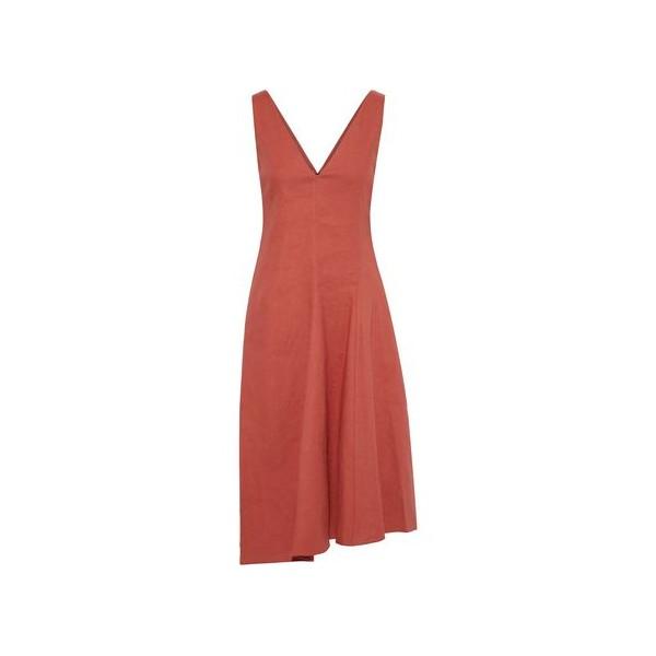 Tadayon asymmetric linen-blend midi dress