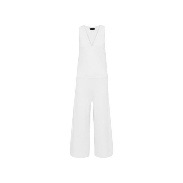 Lustrate cropped wrap-effect stretch-knit jumpsuit