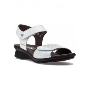 Pattie Sandal White Silk/Silver