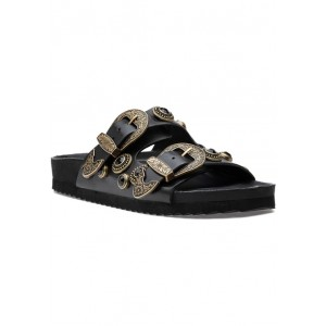 Carly Sandal Black Leather