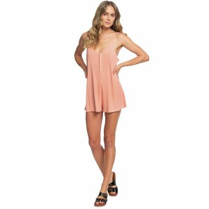 Chill Love Ribbed Button-Front Romper - Womens