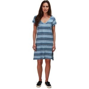 Indigo Knit Texture Slub Stripe V-Neck T-Shirt Dress