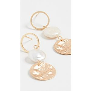 Pearl Disc Drop Earrings