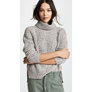 Color Flecked Ribbed Turtleneck Sweater