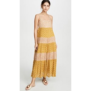 Tiered Tie Back Midi Dress
