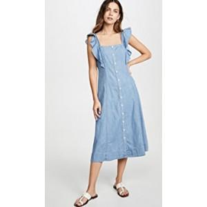Denim Button Front Midi Dress