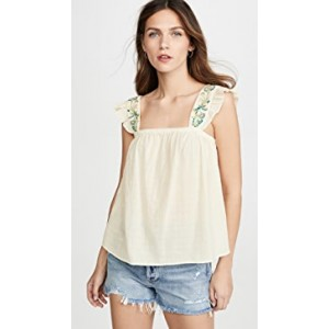 Embroidered Strap Flutter Sleeve Top