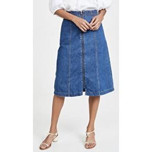 Zip Front Midi Skirt