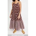 Ruched Oranges Print Long Dress