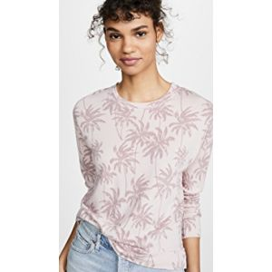 Palm Print High Low Crew Neck