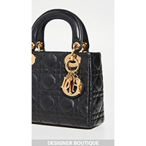 Dior Black Lambskin Lady Dior Mini Bag