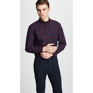 Slim Button Down Plaid Shirt