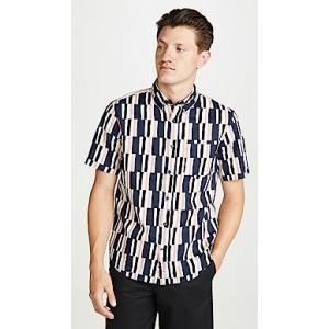 Slim Short Sleeve Button Down Broken Stripe Shirt