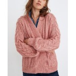 Bubble-Sleeve Cableknit Cardigan Sweater