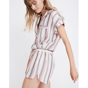 Flannel Bedtime Pajama Top in Lonnie Stripe