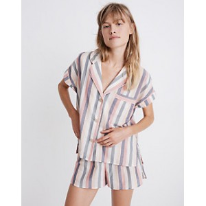 Flannel Bedtime Pajama Shorts in Lonnie Stripe