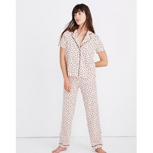 Knit Bedtime Pajama Set in Painted Hearts