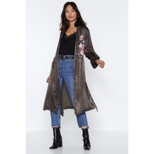 Whats Growing On Embroidered Duster Coat