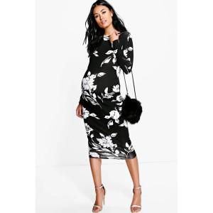 Maternity Mono Print Long Sleeve Midi Dress