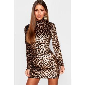 Petite High Neck Leopard Velvet Mini Dress