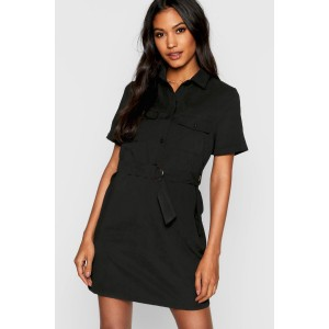 Utility Suedette Belted Shirt Dress