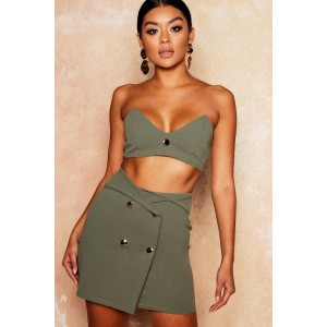Gold Button Detail Bandeau + Skirt Co-Ord