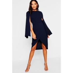 Cape Sleeve Tie Waist Wrap Midi Dress