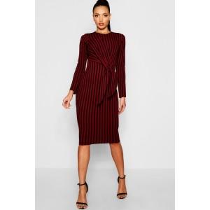 Stripe Side Tie Long Sleeve Midi Dress