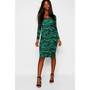Emerald Tiger Square Neck Bodycon Midi Dress