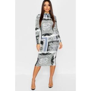 Leopard + Chain Mix Print Long Sleeve Midi Dress
