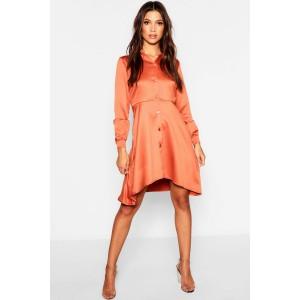 Dipped Hem Luxe Satin Shirt Dress