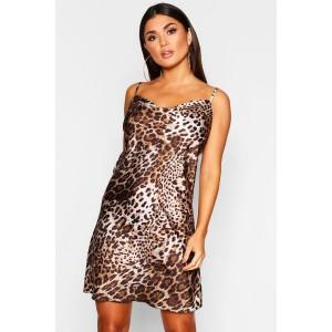 Leopard Print Satin Cowl Neck Slip Dress