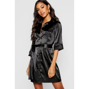Satin Utility Belted Mini Dress
