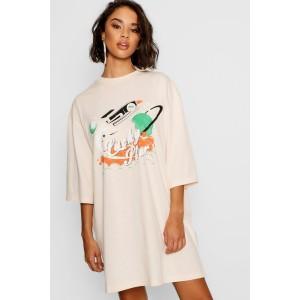 Lucky Star Vintage 3/4 Sleeve T-Shirt Dress