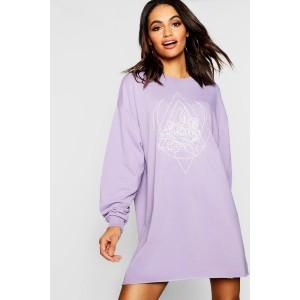 Cosmos Print Oversized Sweatshirt Dress