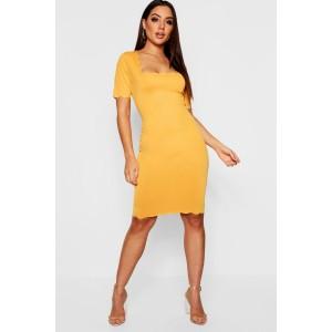 Scallop Edge Midi Dress