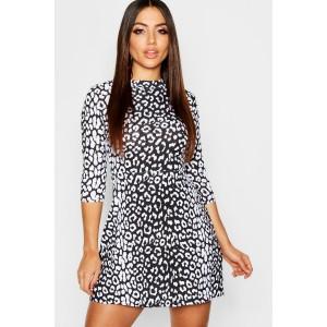 High Neck Half Sleeve Leopard Skater Dress