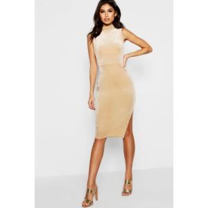 High Neck Velvet Split Midi Bodycon Dress