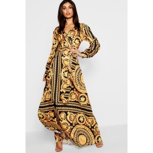 Scarf Print Woven Wrap Maxi Dress