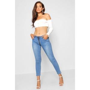 Mia Zip Through Skinny Denim Jean