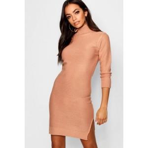 Rib Knit Roll Neck Jumper Dress