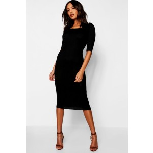 Ribbed Knit Midi Dress With Scoop Neck