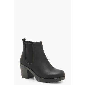 Wide Fit Chunky Cleated Heel Chelsea Boots