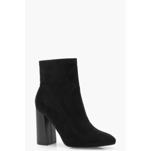 Pointed Toe Suedette Sock Boots